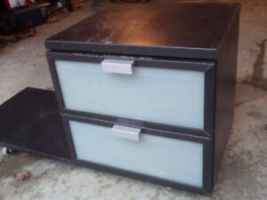 Cabinet (2 drawers) with platform/stand on wheels/cart