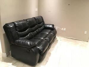 Reclining leather living room set