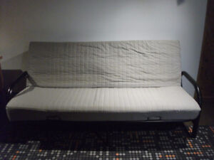 IKEA DOUBLE BED WITH BASE (HIDE-A-BED). IKEA LIT DOUBLE AVEC BAS
