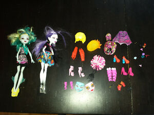 Two Monster High Dolls and Accessories