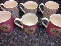 Cath kidston Provence rose mugs x6