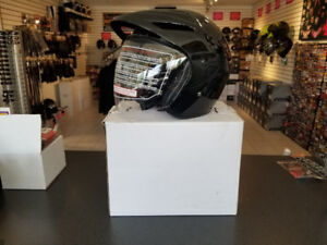 Open Face DOT Motorcycle Helmet with Clear Flip up/down Shield