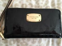 MK black patent leather purse