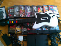 Collection Guitar Hero et Rock Band + console PS2