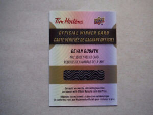 Devan Dubnyk NHL Jersey Relics Card - Tim Hortons Hockey Cards