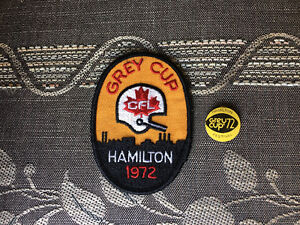 HAMILTON TIGER-CATS 1972 CFL GREY CUP PATCH AND FESTIVAL BUTTON