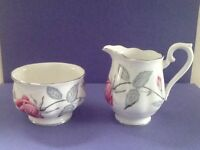 "Royal Albert Bone China ""Trent Rose"" Sugar Bowl & Creamer"