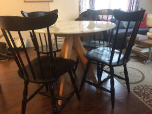 Modern Marble Dining Table w 4 chairs