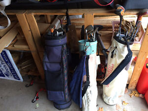 3 Golf Bags and Clubs