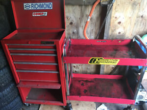 5 drawer tool box and tool cart on castors