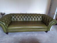 Stunning Green Leather Chesterfield Sofa in excellent condition.