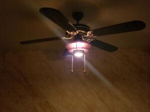 Ventilateur de plafond avec luminaire.