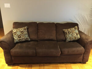 Brown Microsuede Sofa, pet free, smoke free home, very clean