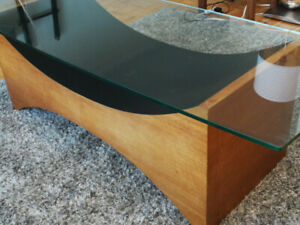 Vintage Glass Top Coffee Table $70