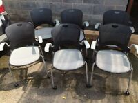 Herman Miller wheeled stacking office chairs x6