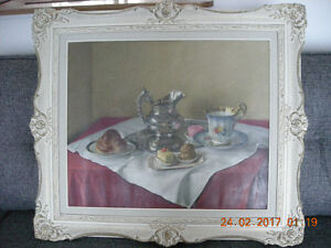 Oil on Canvas Tea Biscuit Painting Signed