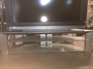 Large Glass and Metal TV Stand Mint Condition