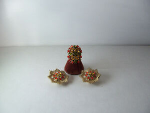Sarah Coventry Ring/Earring Set in Orange,Green & Yellow