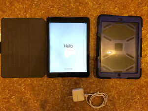 iPad Air 2 (32 GB), charger, case, and water-resistant case