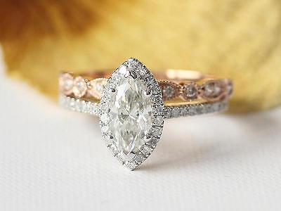 Ladies 14K White Gold Diamond Engagement Ring Wedding Band Bridal Set 1.80 Ct.