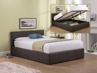 ❋★❋ BUY WITH CONFIDENCE ❋★❋ OTTOMAN GAS LIFT STORAGE FAUX LEATHER BED FRAME - BLACK, BROWN, WHITE