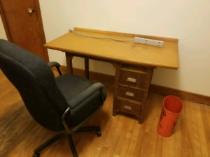 Desk, Chair, Trash Can and Power Bar