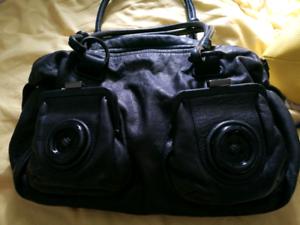 MIMCO black leather shoulder button bag