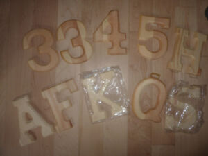 """10 Wooden 5"""" letters and numbers $ 1 ea"""