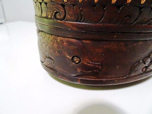 DOUBLE TIER basket lidded TURTLE LIZARD FISH carved INDONESIAN Cambridge Kitchener Area image 4