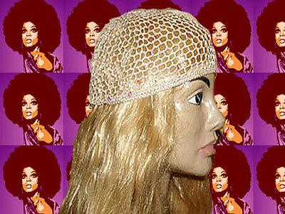A110✪  60er 70er Jahre Revival Häkel Haarnetz Pailletten Mama Mia apricot