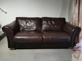 2 & 3 Brown Leather Sofas