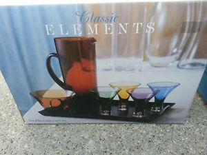 New In Box - Classic Elements 7 pc Coloured Cordial Set