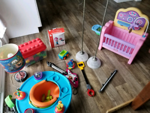 Mostly toys, couple of lamps, stability ball, baby & tot clothes