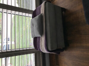 Living room set, includes sofa, chair, ottoman, storage bench