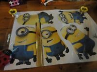 LARGE minions peel and stick wall decorations