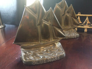 Brass Bluenose Bookends and Sail Boat Brass Rack