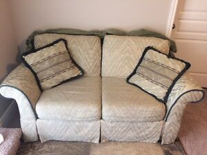 Loveseat - Taupe with Green Trim