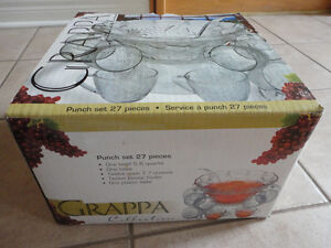 Brand new in box set of 27 piece punch bowl and serving cups