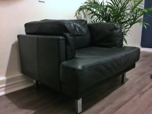 Black Leather Lounge Chair (Le Corbusier LC2 Styled) $100