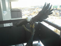 Eagle on a stand.