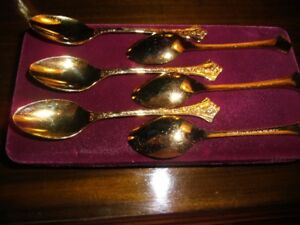CAKE SPOON & FORK SET IN 24 CT GOLD PLATE BY EETRITE 12 PIECES-