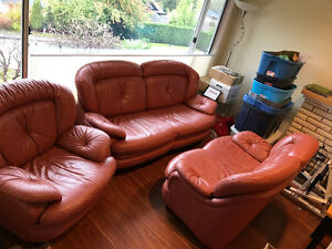 3pc Real Leather Couch Set for sale $550 OBO