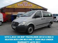 2014 14 MERCEDES-BENZ VITO TRAVELINER MINIBUS 9 SEATER ONLY 12000 MLS DIESEL