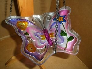 Two Painted Glass Butterfly Hanging Birdfeeders London Ontario image 3