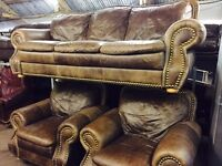 As new 3 11 full leather sofa set