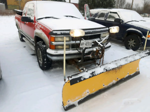 1998 2500 Chevy truck with plow and dump box.