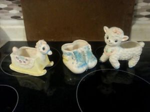 3 Vintage Baby Ornament Planters