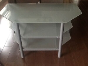 Table TV de coin en verre