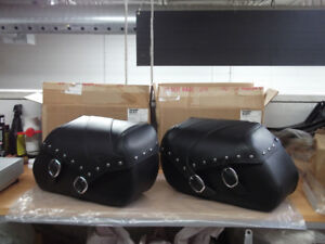 SADDLEBAGS, NEW OEM, STUDDED, KAWASAKI VULCAN 900 MODELS