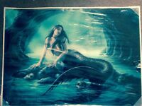 Large Glass Art work - Mermaid 50 X 70cm New still sealed